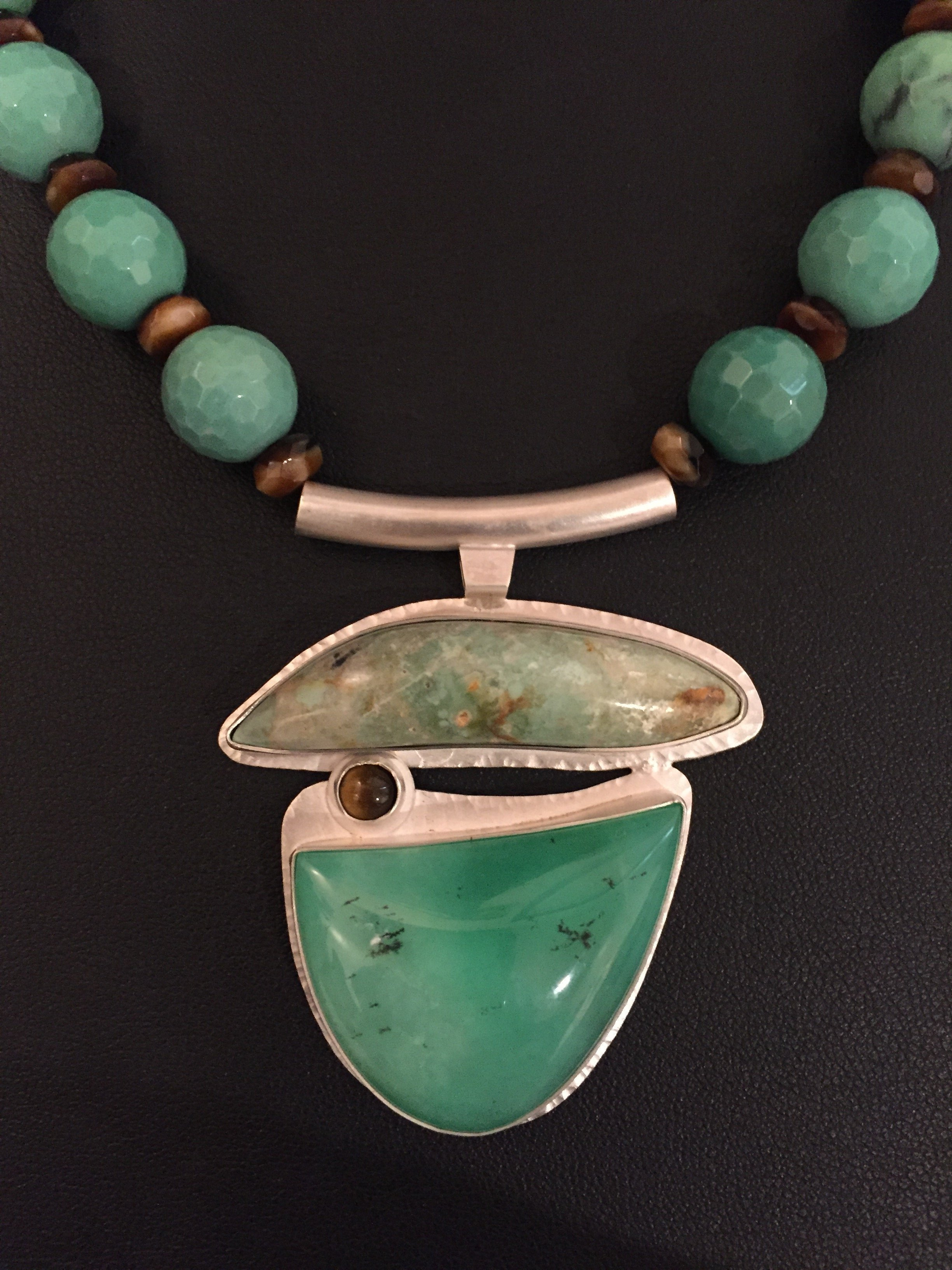 Chrysoprase & Tiger Eye Pendant by Linda Lewis