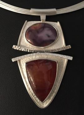 Carnelian & Agate Pendant by Linda Lewis