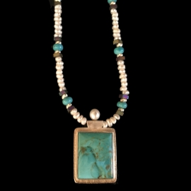 Turquoise and Pearl Necklace by Linda Lewis