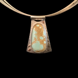 Turquoise with Copper Pendant by Linda Lewis